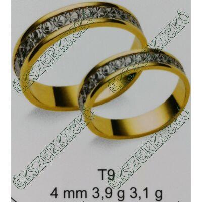 Sárga-fehér arany vésett karikagyűrűk