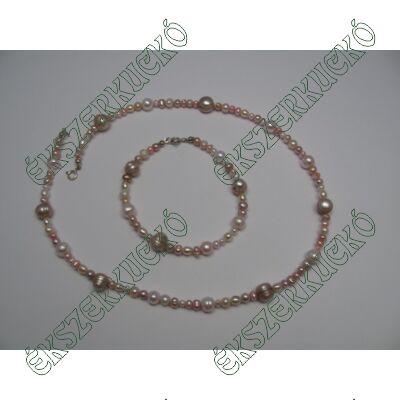 Édesvízi tenyésztett gyöngy nyaklánc és karkötő