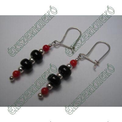 Ezüst piros és fekete köves fülbevaló