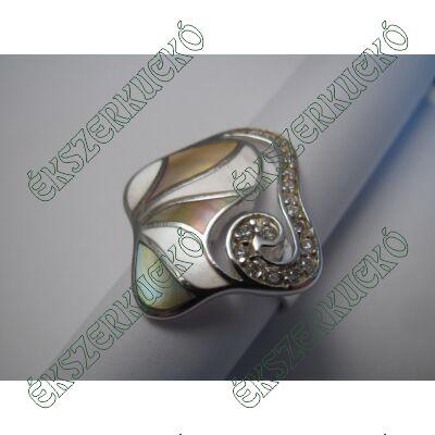 Ezüst cirkónia köves gyöngyházas gyűrű