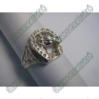 Ezüst lófej és patkó gyűrű