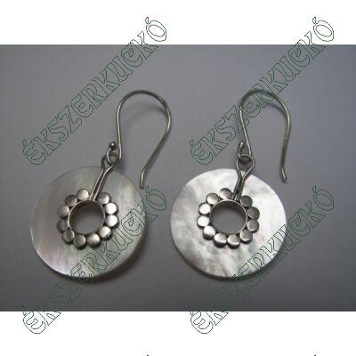 Ezüst gyöngyházas fülbevaló