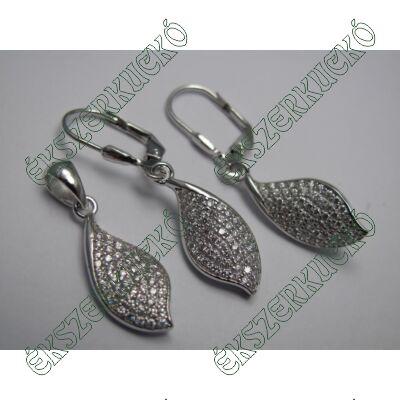 Cirkónia köves ezüst fülbevaló és medál