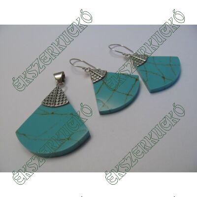 Türkiz színű howlit medál és fülbevaló