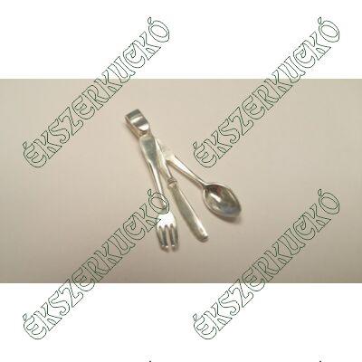 Ezüst kés-villa-kanál medál