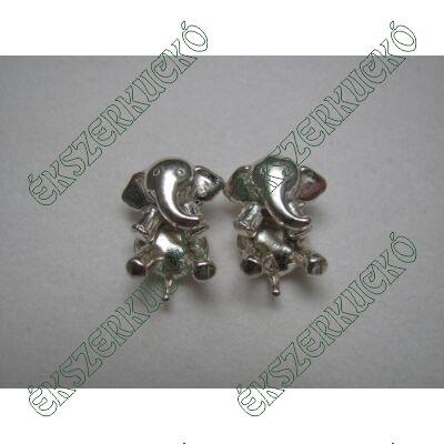 Ezüst elefánt bedugós fülbevaló