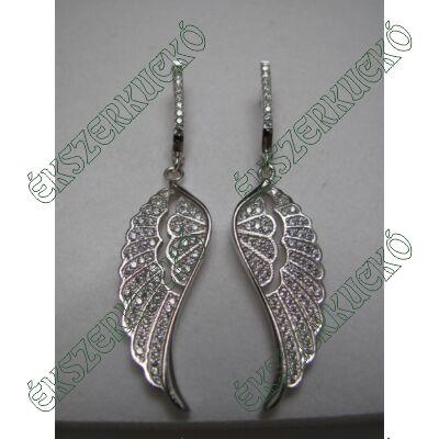 Ezüst cirkónia köves angyalszárny fülbevaló