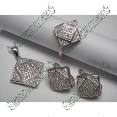 Ezüst cirkónia köves fülbevaló, medál és gyűrű szett