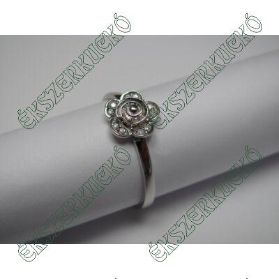 Ezüst virágos cirkónia köves gyűrű