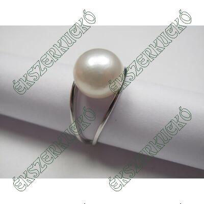 Ezüst édesvizi gyöngyös gyűrű