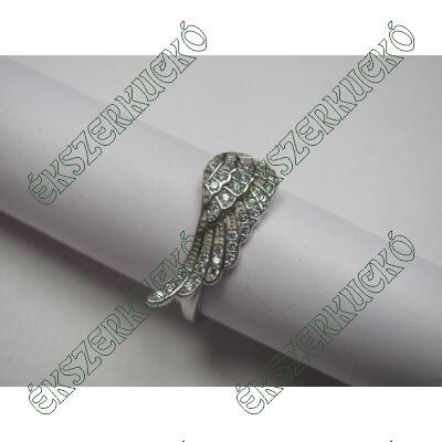 Ezüst cirkónia köves angyalszárny gyűrű