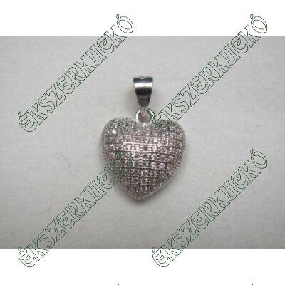 Ezüst cirkónia köves szív medál