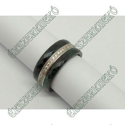 Ezüst cirkónia köves gyűrű kerámiával