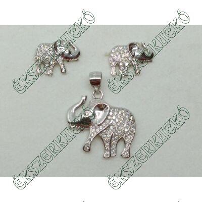 Ezüst cirkónia köves elefánt fülbevaló és medál szett