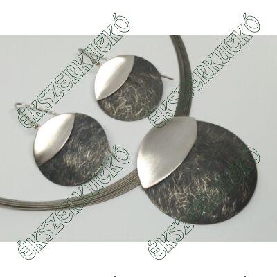 Ezüst fülbevaló és medál szett acél láncon