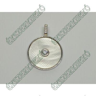 Ezüst medál cirkónia kövekkel és gyöngyházzal kombinálva