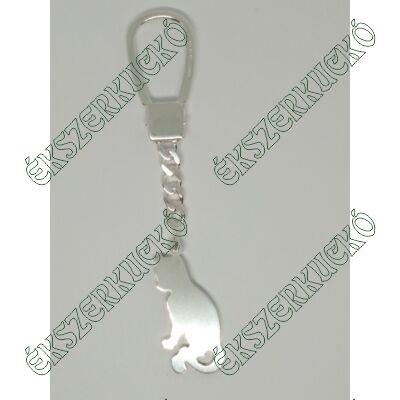 Ezüst cica kulcstartó