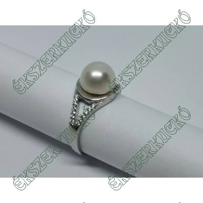 Ezüst cirkónia köves gyöngyös gyűrű