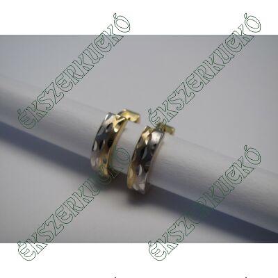 Sárga-fehér arany karika fülbevaló