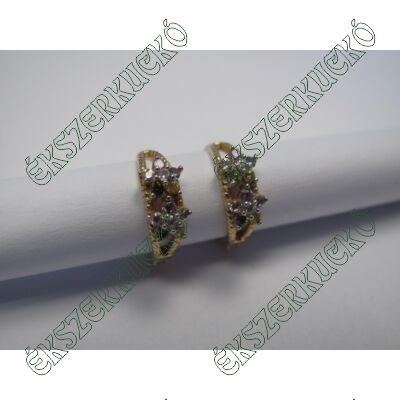 Arany karika fülbevaló, színes kövekkel