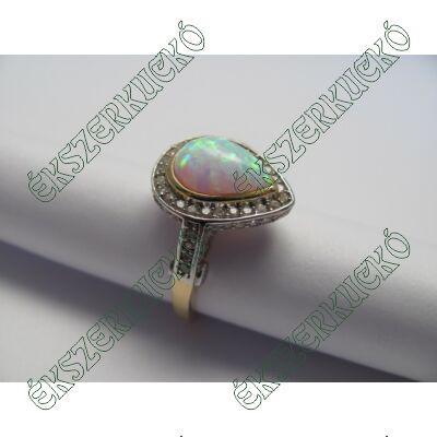 Sárga-fehér aranygyűrű, opállal és cirkónia kövekkel