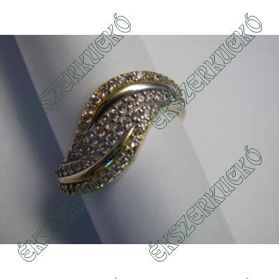 Sárga-fehér aranygyűrű, cirkónia kövekkel