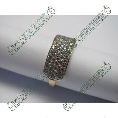 Sárga-fehér arany gyűrű, öt sorban cirkónia kövekkel