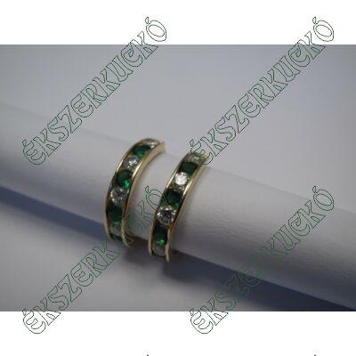 Arany karika fülbevaló, zöld-fehér kövekkel