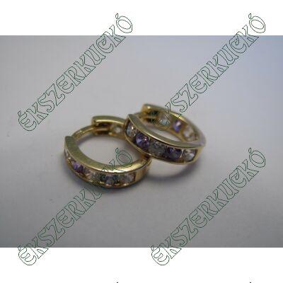 Arany karika fülbevaló, lila-fehér kövekkel
