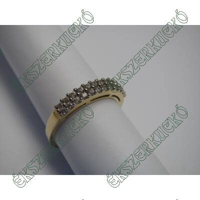 Sárga-fehér aranygyűrű, két sorban cirkónia kövekkel