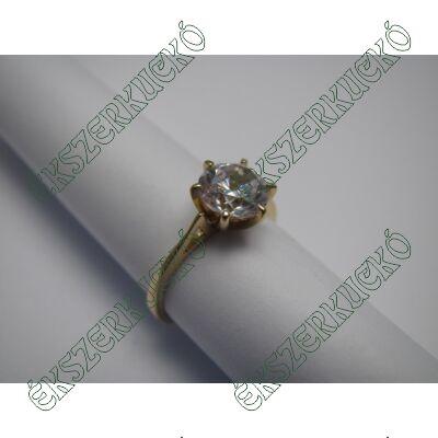 Sárgaarany szoliter gyűrű cirkónia kővel