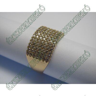 Aranygyűrű, hét sorban cirkónia kövekkel