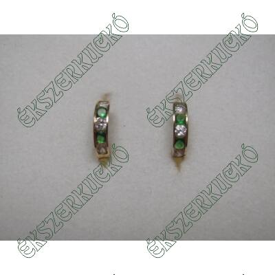 Sárgaarany zöld-fehér cirkónia köves karika fülbevaló