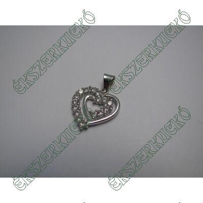 Fehérarany szívmedál cirkónia kövekkel