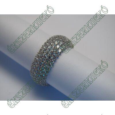 Fehérarany gyűrű, öt sorban cirkónia kövekkel