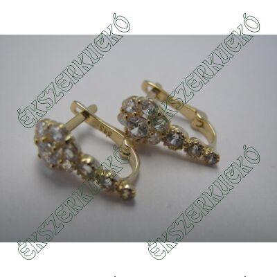 Arany fülbevaló fehér cirkónia kövekkel