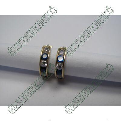Arany karika fülbevaló, kék-fehér kövekkel