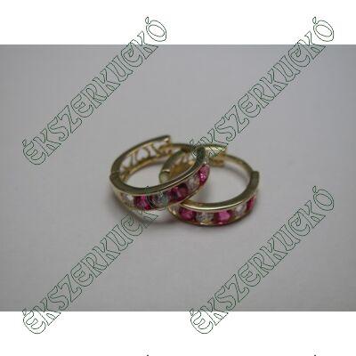 Arany karika fülbevaló, pink-fehér kövekkel