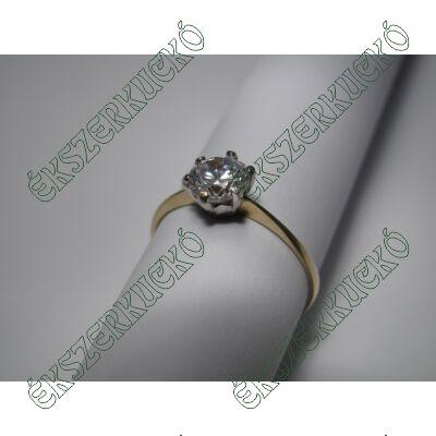 Sárgaarany cirkónia köves soliter gyűrű
