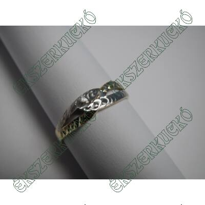 Sárga-fehér arany vésett gyűrű