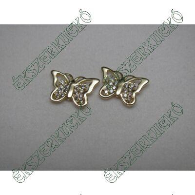 Sárgaarany cirkónia köves pillangó fülbevaló