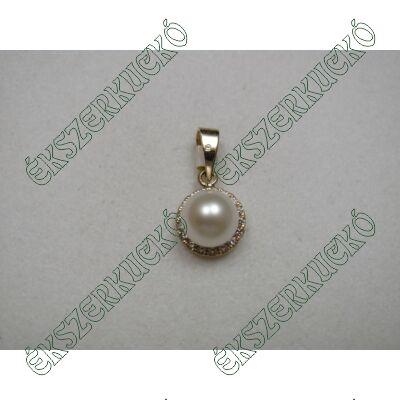 Sárgaarany cirkónia kövekkel és gyönggyel díszített medál