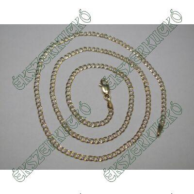 Sárga-fehér arany vésett nyaklánc