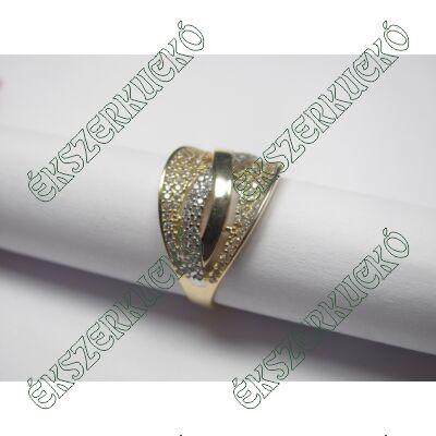 Sárga-fehér arany gyűrű cirkónia kövekkel