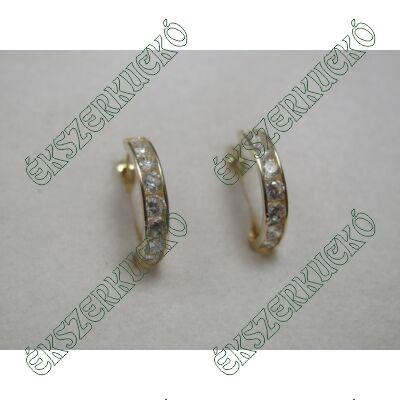 Sárga arany karika fülbevaló cirkónia kövekkel