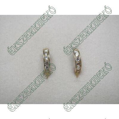 Sárga arany karika fülbevaló fehér cirkónia kövekkel