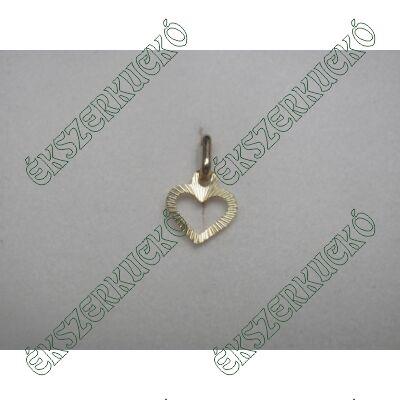 Sárgaarany vésett szív medál
