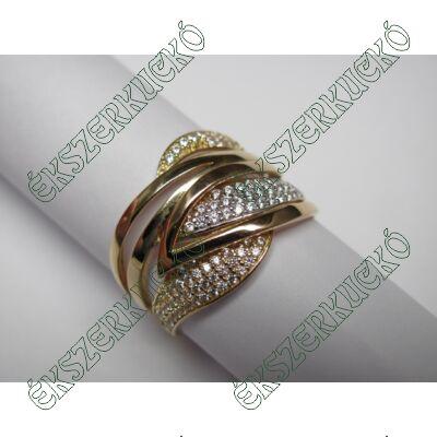 Sárga-fehé-vörös arany cirkónia köves gyűrű