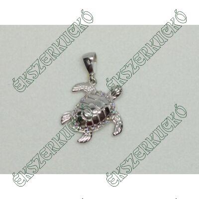 Fehér arany cirkónia köves teknős medál