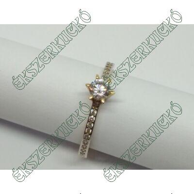 Sárga-fehér arany cirkónia köves szoliter gyűrű